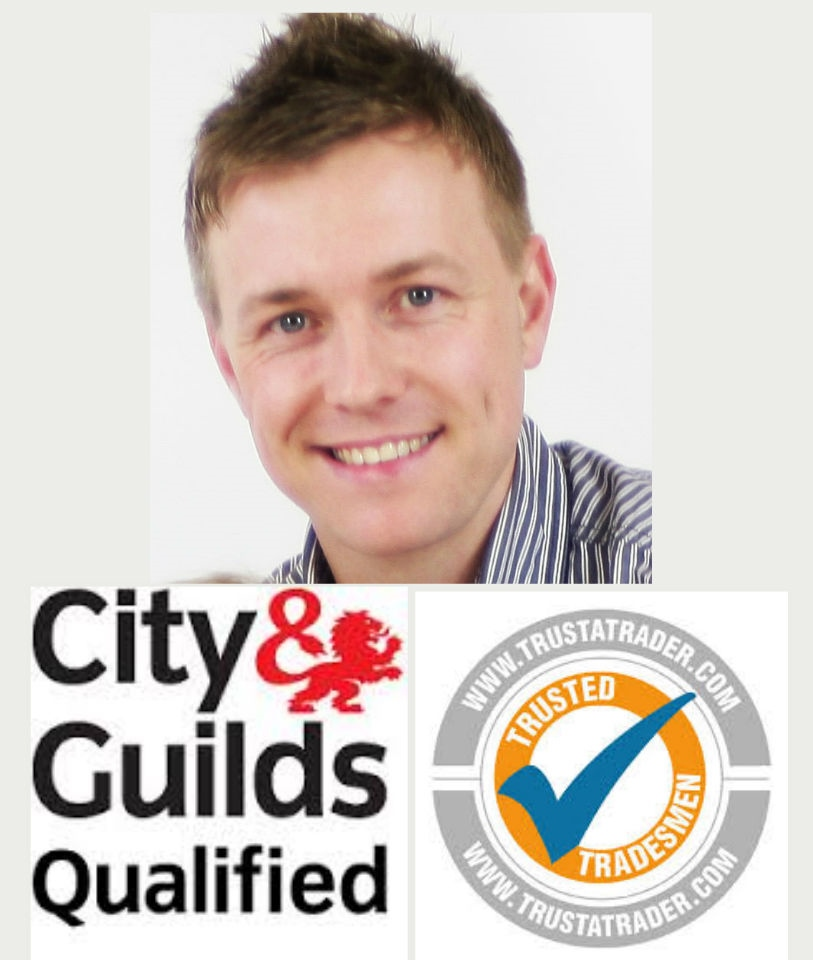 Picture of Tewkebsury Plumber Mike Weaver with City and Guilds and Trust-A-Trader logos